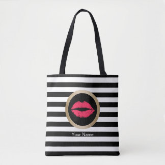 Makeup Artist Red Lips Modern Black White Stripes Tote Bag