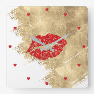 makeup artist red lips on gold paint stroke square wall clock