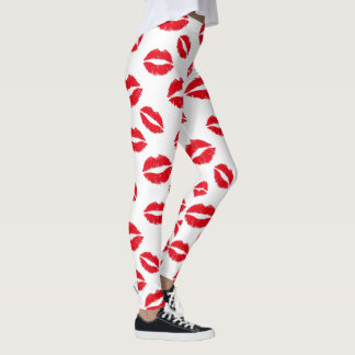 Makeup Artist Red Lips Pattern Modern Beauty Leggings