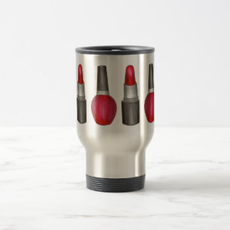 Makeup Artist Red Lipstick Nail Polish Beauty Travel Mug