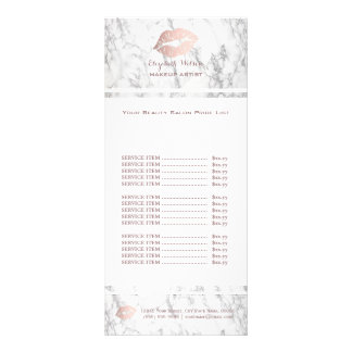 makeup artist rose gold and marble price list rack card