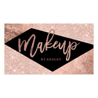 Makeup artist rose gold color block typography pack of standard business cards