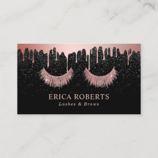 makeup artist rose gold eyelash trendy dripping business card - Lash Extension Business Cards