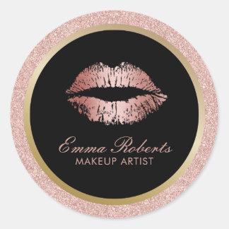 Makeup Artist Rose Gold Glitter Lips Modern Salon Round Sticker