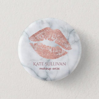 makeup artist rose gold kiss on marble 3 cm round badge