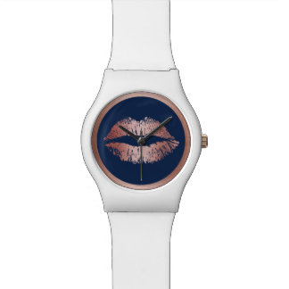 Makeup Artist Rose Gold Lips Elegant Navy Blue Wrist Watches