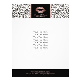 Makeup Artist Rose Gold Lips Modern Leopard Salon 21.5 Cm X 28 Cm Flyer