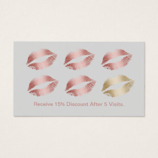 Makeup Artist Rose Gold Lips Silver Loyalty Business Card