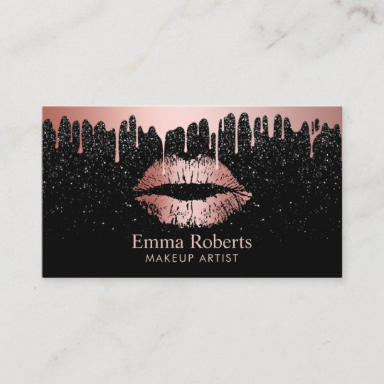 Makeup artist rose gold lips trendy dripping business card zazzle makeup artist rose gold lips trendy dripping business card reheart Images