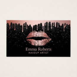 Makeup artist business cards business card printing zazzle makeup artist rose gold lips trendy dripping business card reheart Image collections