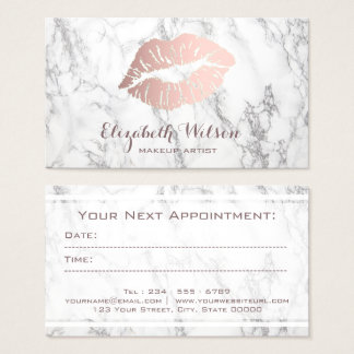 makeup artist rose gold marble appointment card