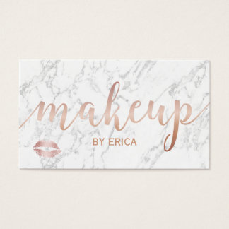 Makeup Artist Rose Gold Script Elegant Marble Business Card