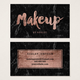 Makeup artist rose gold typography black marble