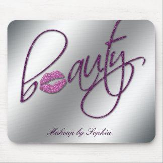 Makeup Artist Salon Cosmetology Pink Lips Glitter Mouse Pad