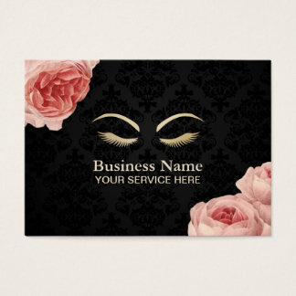 Makeup Artist Salon Elegant Damask Vintage Floral Business Card