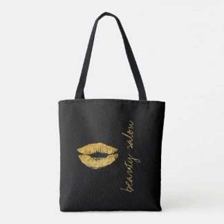 Makeup artist salon name gold lips black glam tote bag