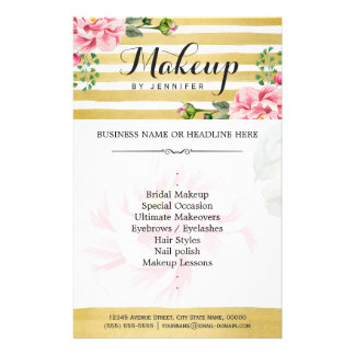 Makeup Artist Salon Watercolor Floral Gold Striped 14 Cm X 21.5 Cm Flyer