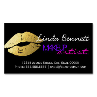 Makeup Artist - Sassy Gold Lips Dark Theme Style Magnetic Business Cards
