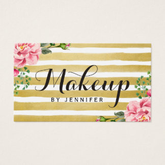 Makeup Artist Script Classy Floral Gold Striped