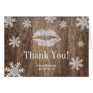 Makeup Artist Silver Lips Snowflake Rustic Holiday Card