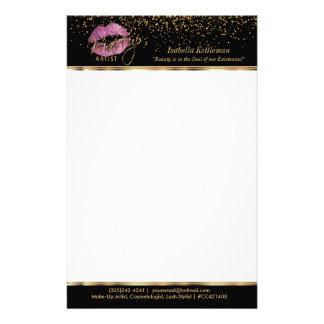 Makeup Artist So Pink Glitter Lips Stationery