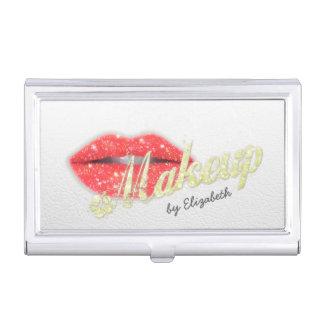 Makeup Artist Sparkle Red Lips Salon Hair Stylist Business Card Holder