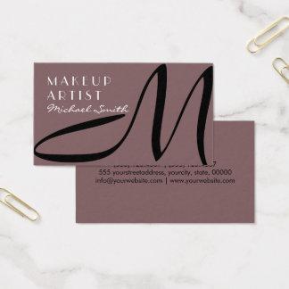 Makeup Artist Stylish Monogram Modern Deep Taupe Business Card