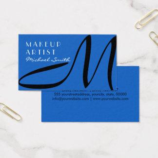 Makeup Artist Stylish Monogram Modern Denim Business Card