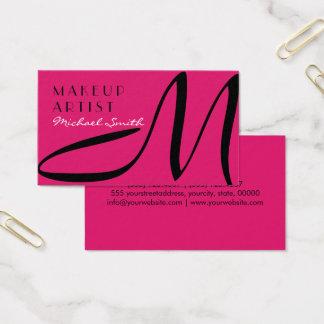 Makeup Artist Stylish Monogram Modern Dogwood Rose Business Card