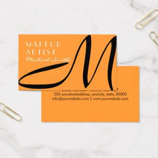 Makeup Artist Stylish Monogram Modern Saffron Business Card