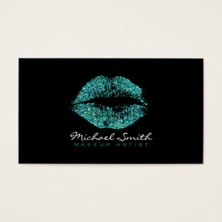 Makeup Artist Stylish Turquoise Glitter Lips #2