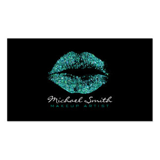 Makeup Artist Stylish Turquoise Glitter Lips #2 Pack Of Standard Business Cards