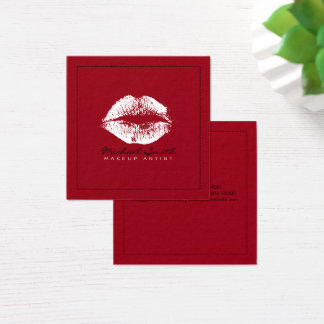 Makeup Artist Stylish White Lips Modern Deep Red Square Business Card