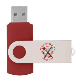 Makeup Artist Stylist Beauty Salon With Your Name Swivel USB 3.0 Flash Drive