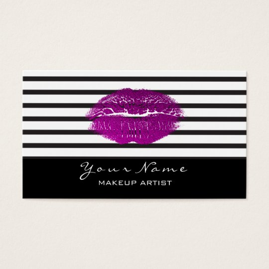 Makeup Artist Stylist Black White Stripes Lips Pin Business Card