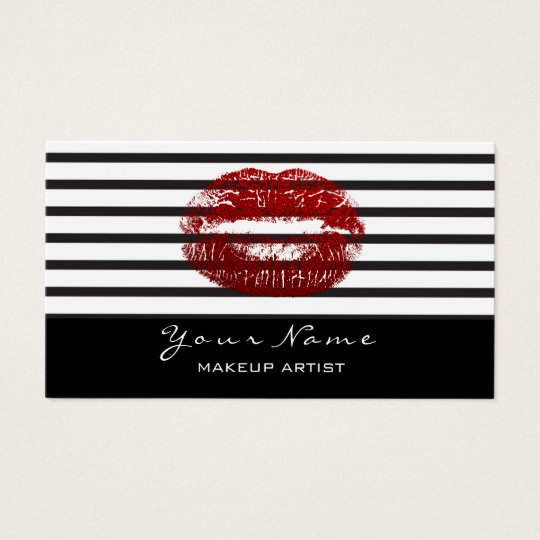 Makeup Artist Stylist Black White Stripes Lips Red Business Card