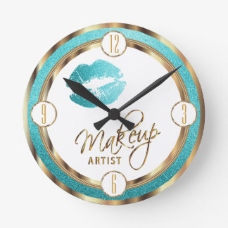 Makeup Artist Teal Lips with Gold and White Wallclocks
