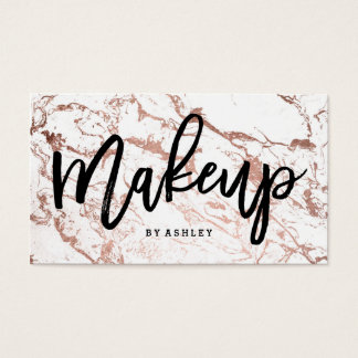 Makeup artist typography rose gold white marble