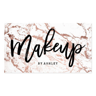 Makeup artist typography rose gold white marble pack of standard business cards