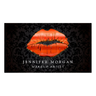 Makeup Artist Unique 3D Gold Red Lips Damask Pack Of Standard Business Cards