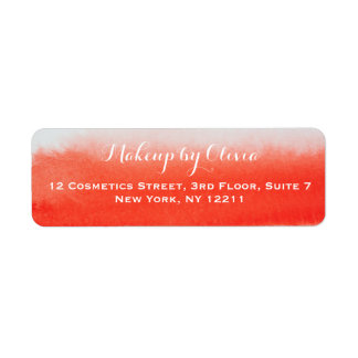 Makeup Artist Watercolor Coral Return Address Label