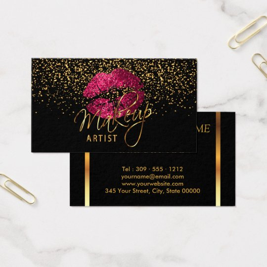 Makeup artist with gold confetti hot pink lips business card makeup artist with gold confetti hot pink lips business card reheart Image collections