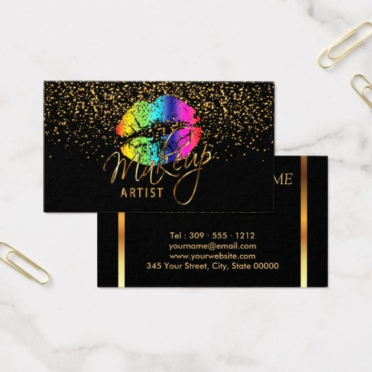 Makeup Artist with Gold Confetti & Rainbow Lips Business Card