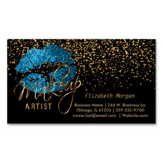 Makeup Artist with Gold Confetti & Turquoise Lips Magnetic Business Cards