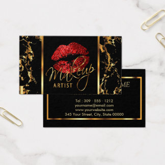 Makeup Artist with Marble Gold & Red Accents Business Card
