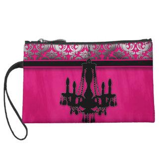 Makeup Bag Purse Chandelier Damask Silver Pink
