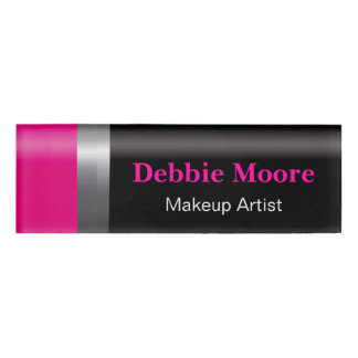 Makeup Beauty Fashionable Pink Black Lipstick Tube Name Tag