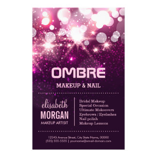 Makeup Beauty - Pink Glitter Sparkles 14 Cm X 21.5 Cm Flyer