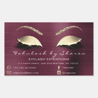 Makeup Beauty Salon Burgundy Adress Luxury Rectangular Sticker