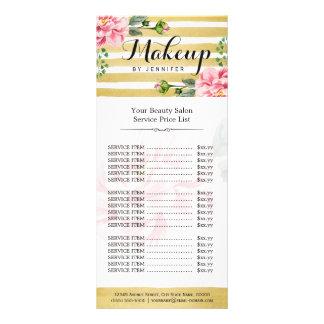 Makeup Beauty Salon Floral Gold Stripes Price List Custom Rack Card